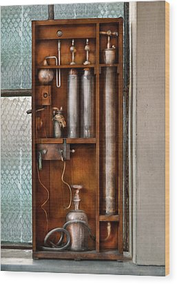 Steampunk - The Invention  Wood Print by Mike Savad
