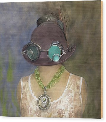 Steampunk Beauty With Hat And Goggles - Square Wood Print by Betty Denise