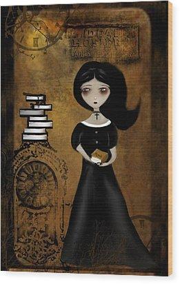 Steampunk Bibliophile Wood Print by Charlene Zatloukal