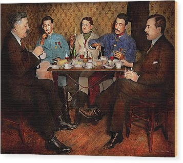 Wood Print featuring the photograph Steampunk - Bionic Three Having Tea 1917 by Mike Savad