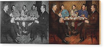 Wood Print featuring the photograph Steampunk - Bionic Three Having Tea 1917 - Side By Side by Mike Savad