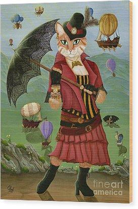 Steampunk Cat Gal - Victorian Cat Wood Print
