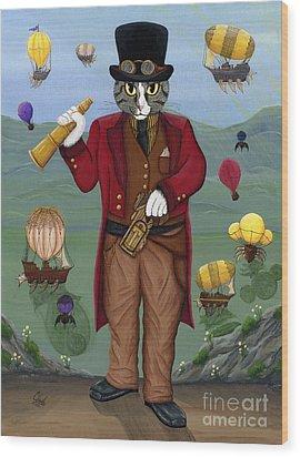 Steampunk Cat Guy - Victorian Cat Wood Print