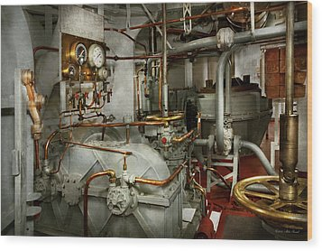 Wood Print featuring the photograph Steampunk - In The Engine Room by Mike Savad