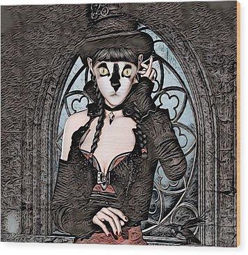 Steampunk Kitty By Artful Oasis Wood Print