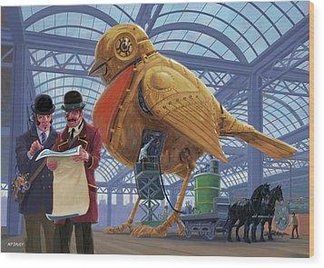 Wood Print featuring the digital art Steampunk Mechanical Robin Factory by Martin Davey