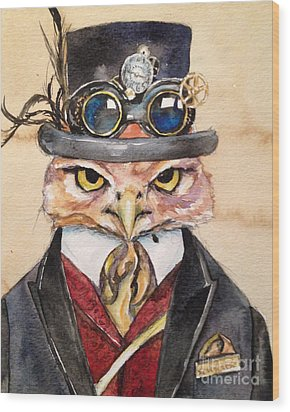 Wood Print featuring the painting Steampunk Owl Mayor by Christy  Freeman
