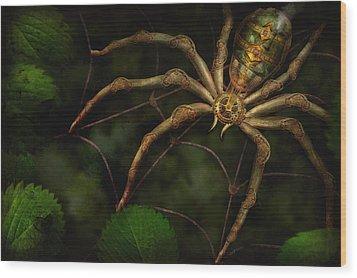 Steampunk - Spider - Arachnia Automata Wood Print by Mike Savad