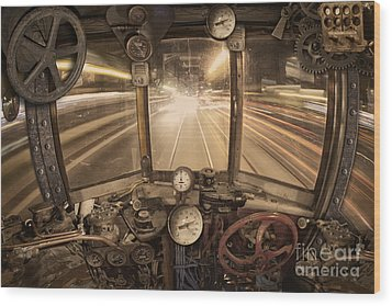 Steampunk Time Machine Wood Print by Keith Kapple