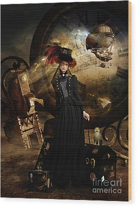 Wood Print featuring the digital art Steampunk Time Traveler by Shanina Conway
