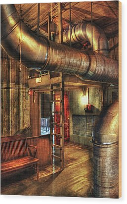 Steampunk - Where The Pipes Go Wood Print by Mike Savad