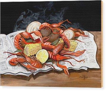 Steamy Crawfish Wood Print by Elaine Hodges