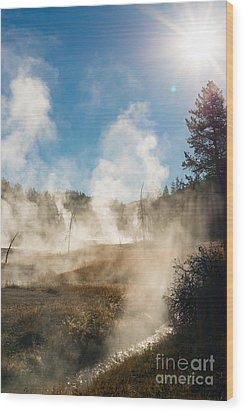 Steamy Sunrise Wood Print by Birches Photography