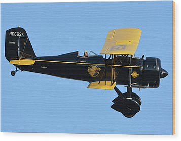 Stearman 4e Junior Speedmail Nc663k Chino California April 29 2016 Wood Print by Brian Lockett