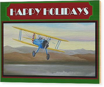 Wood Print featuring the painting Stearman Morning Flight Christmas Card by Stuart Swartz