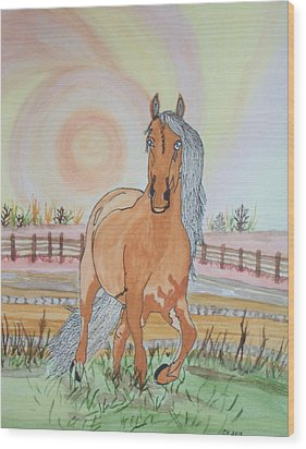 Stech Of A Horse Wood Print by Connie Valasco
