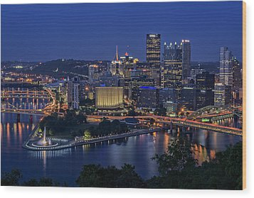 Steel City Glow Wood Print