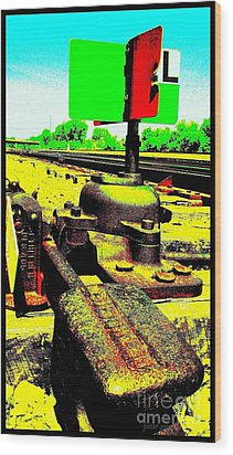 Wood Print featuring the photograph Steel Diesel Track Signal by Peter Gumaer Ogden