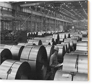 Steel Mill Wood Print by Everett