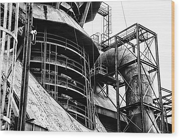 Steel Mill In Black And White - Bethlehem Wood Print by Bill Cannon