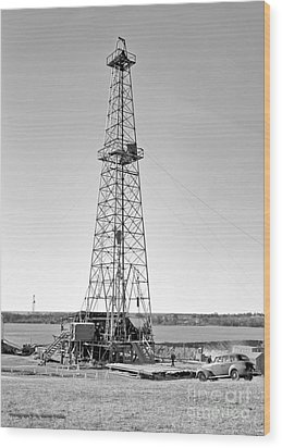 Steel Oil Derrick Wood Print