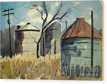 Wood Print featuring the painting Steel Silos In A Field Matted Glassed Framed by Charlie Spear