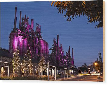 Steel Stacks At Night Wood Print