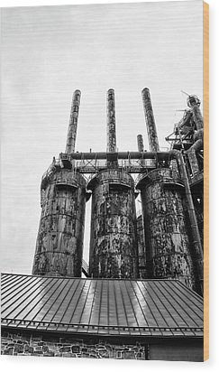 Steel Stacks - The Bethehem Steel Mill In Black And White Wood Print by Bill Cannon