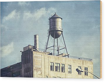 Wood Print featuring the photograph Steel Water Tower, Brooklyn New York by Gary Heller