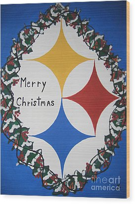 Steelers Christmas Card Wood Print