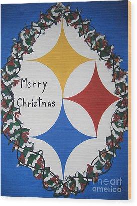 Steelers Christmas Card Wood Print by Jeffrey Koss