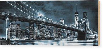 Steely Skyline Wood Print by Az Jackson