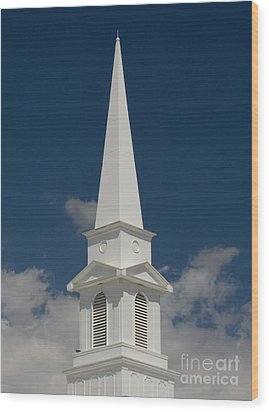 Steeple And Clouds Wood Print by Merrimon Crawford