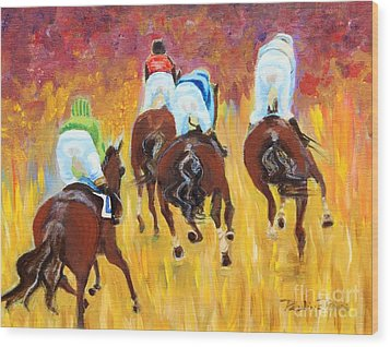 Steeple Chase Wood Print by Pauline Ross