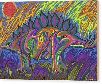 Stegasaurus Colorado Wood Print by Robert SORENSEN