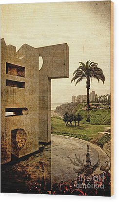 Wood Print featuring the photograph Stelae In The Park - Miraflores Peru by Mary Machare