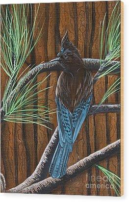 Wood Print featuring the painting Stellar Jay by Jennifer Lake