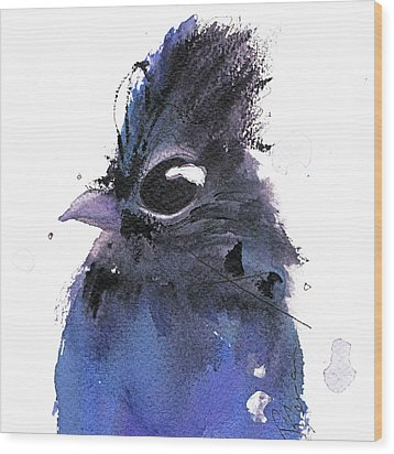 Wood Print featuring the painting Steller Jay by Dawn Derman