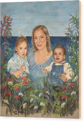 Stephanie With Sarah And Jillian Wood Print