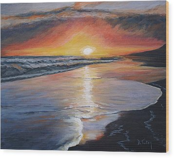 Wood Print featuring the painting Stephanie's Sunset by Donna Tuten