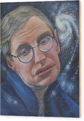 Stephen Hawking Wood Print by Simon Kregar