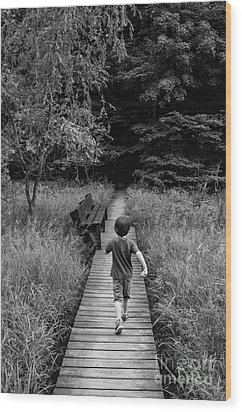 Wood Print featuring the photograph Stepping Into Adventure - D009927-bw by Daniel Dempster