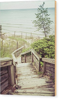 Wood Print featuring the photograph Steps To Lake Michigan by Joel Witmeyer