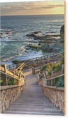 Wood Print featuring the photograph Steps To Treasure Island Beach by Eddie Yerkish
