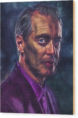 Wood Print featuring the photograph Steve Buscemi Actor Painted by David Haskett