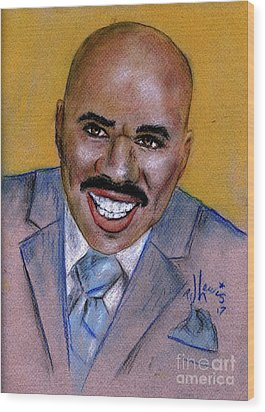 Wood Print featuring the drawing Steve Harvey by P J Lewis