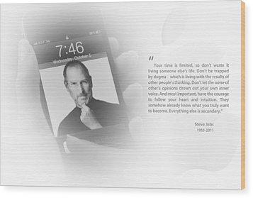 Steve Jobs 2 Wood Print