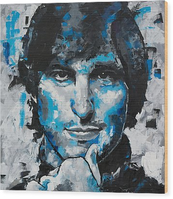 Wood Print featuring the painting Steve Jobs II by Richard Day