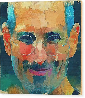Steve Jobs The Legend Wood Print