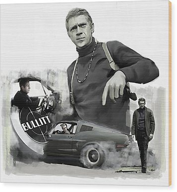 Wood Print featuring the painting Steve Mcqueen Bullitt Mcqueen  by Iconic Images Art Gallery David Pucciarelli